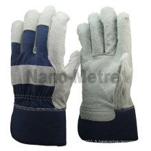 NMSAFETY gant en cuir croûte de vache naturelle avec dos en coton bleu