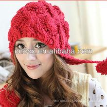 Sombrero del invierno del sombrero de la gorrita tejida de las muchachas de la manera del pom pom de PK17ST170