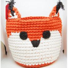 organic cotton crochet fox storage organization basket