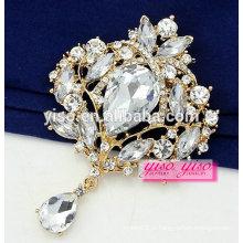 Melhor venda gem pedra liga moda flor broche de roupas