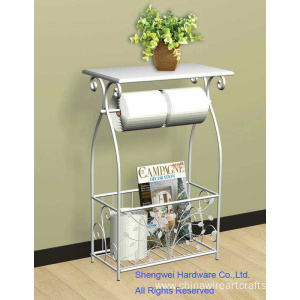 Metal and Wood Toilet Paper and Magazine Holder Table - Leave Design