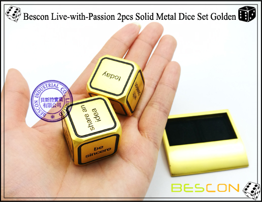 Bescon Live-with-Passion 2pcs Solid Metal Dice Set Golden-5