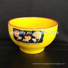 Beliebte Familie Porzellan gelbe Verglasung Schüssel Keramik Schüssel