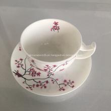 Xícara de chá de porcelana de osso cerâmico e conjunto de bandeja