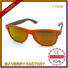 F15939 Lentille miroir personnalisé lunettes de soleil avec des Temples de bambou