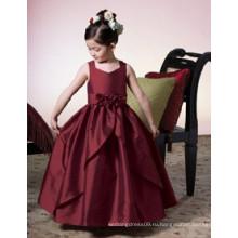 Прекрасный цветок девушка платье с низкой ценой или полный-длина бальное платье цветочница платье или замороженные Эльза платье оптовая продажа детской одежды