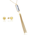 Conjunto de jóias de borla de retângulo claro de aço inoxidável com corrente