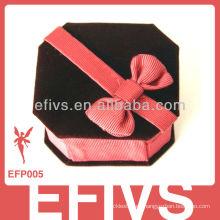 Custume cuero de terciopelo caja de joyería decorativa con bowknot