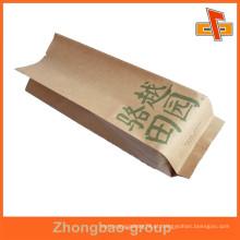 Impressão personalizada gusset lado branco kraft saco de papel para embalagem de alimentos