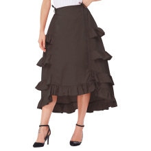 Belle Poque Womens Gothic Costume Retro Vintage Cotton Coffee High Low Skirt BP000222-3