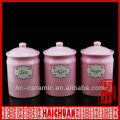 Ceramic purple kitchen canister set, pink canister