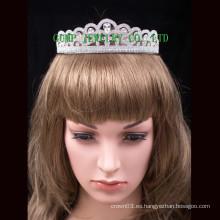 Novia corona blanco rhinestone boda princesa tiara