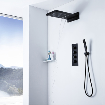 2 Functions Black Shower Head Bathroom Shower Faucet