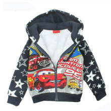 Boy Printed Car Coat with Zipper in Children Clothing