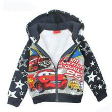 Menino Impresso Car Coat com Zipper em Crianças Vestuário