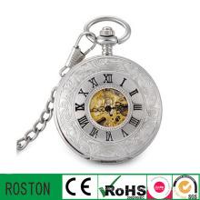 Relógio de bolso de esqueleto mecânico