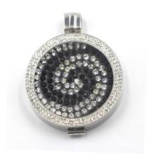 Locket de prata com placa de moeda flutuante para colar pingente
