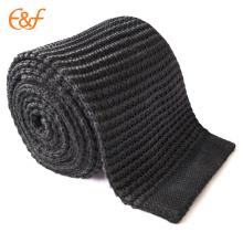 Cravate en tricot 100% soie noir uni, largeur 2/3/4 po