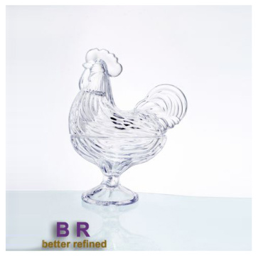 Elegante Cock Crystal Glass Candy Box Jar
