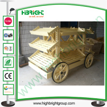 Tienda Supermercado Pan de madera Display Stand Carriage