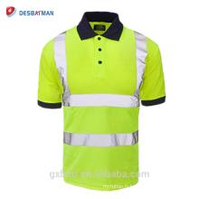 Nouveau Salut Viz Manches courtes Chemise de sécurité Tenue de travail Navy Collar Haute visibilité Bouton Polo T-shirt avec bande réfléchissante