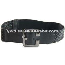 Wide Braided Elastic Belt With Gun Metal Plated Buckle