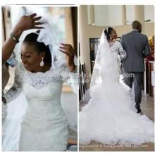 Mariage africain 2017 jupe à volants Manches longues musulmanes Robe de mariée en dentelle sirène MW993