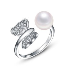 Sterling silver cubic zirconia butterfly and white pearl expandable ring bands