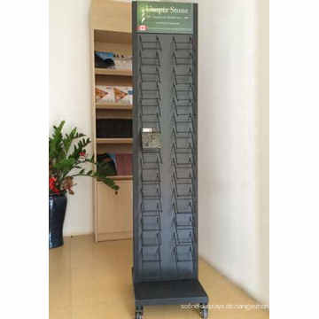 Custom Design Floor Standing Metallblech Draht Haken 2-Reihe Quarz Stein und Steinbruch Fliesen Display Racks