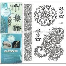 Nueva Tatuaje Temporal Decoración exquisita del cordón Blanco y negro, pierna / brazo / muslo, etiqueta engomada impermeable de Tatoo