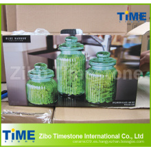 Frasco de cristal verde del hogar 3PCS fijado con la tapa de cristal hermética