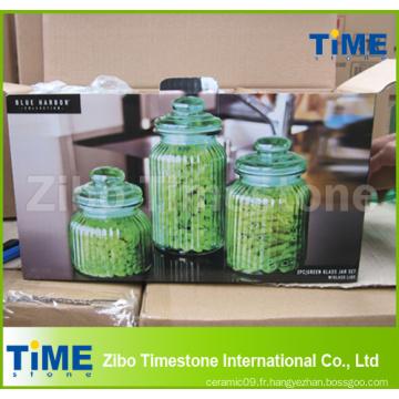 Ensemble de pot de verre vert 3PCS avec couvercle de verre étanche