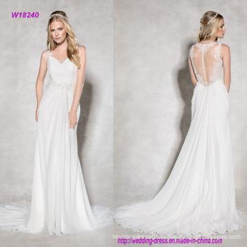 Романтический лестно шифон Свадебные платье с кружева иллюзию назад