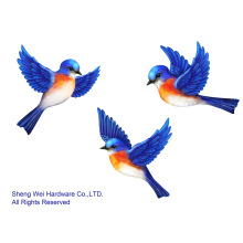 Metal Blue Birds Wall Decor - Set of 3