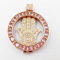 Pingente de medalhão de aço inoxidável Design 316L com grandes pedras ovais