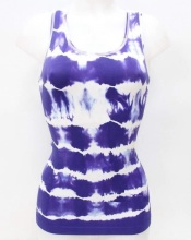 Nylon Materials Seamless Fashion Tie Dyed Ladies Vest
