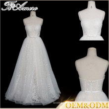 Tiamero custom made prospective strapless lace a line Backless bride wedding dress gown