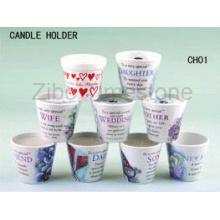Porte-bougies décoratifs en grès avec décalque (CH01)