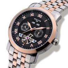Luxus Herrenuhr Tourbillon Wasserdichte Datumswoche Edelstahl Automatische mechanische Armbanduhr Relogio Maskulinine