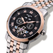 Homens de luxo Watch Tourbillon Waterproof Date Week Stainless Steel Automatic Relógio de pulso mecânico Relogio Masculino