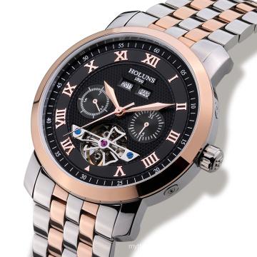 Luxury Men Watch Tourbillon Waterproof Date Week Stainless Steel Automatic Mechanical Wristwatch Relogio Masculine