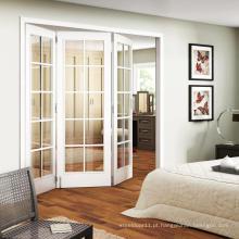 Porta de madeira dobrável de vidro exterior