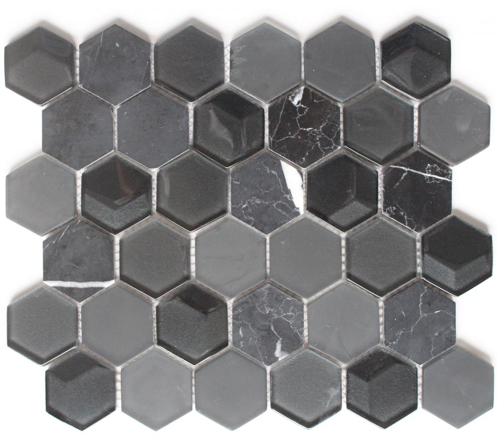 Black Hexagon Marble Glass Mixed Mosaic Tile