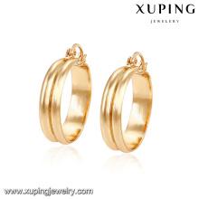 91584 свободный размер экологических медь простой изящный золотой обруч дизайн серьги для женщин