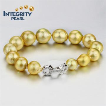 10-13mm goldene Farbe AA + runde natürliche Süßwasser kultivierte Perle Armband