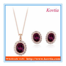 Dubai new design ruby diamond pendant necklace and earring set jewelry