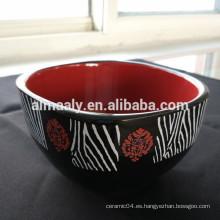 Cuenco de porcelana cuadrado de dos colores cuenco de cerámica