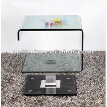 Mesa de centro moderna con vidrio doblado en caliente de 12 mm y base de vidrio pintado negro