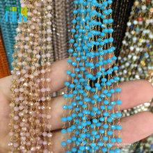Cuentas de cristal facetadas redondas Cuentas de metal rosarios cadena de alambre