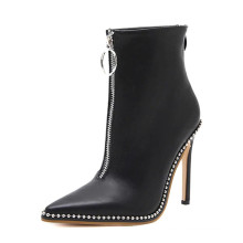 10cm heel black leather pointed toe chain ornaments vamp round zipper accessories ladies ankle boots